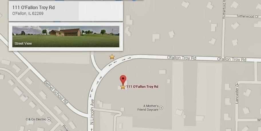 Map to St. Michael's Episcopal Church in O'Fallon, Illinois