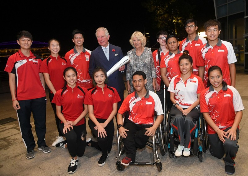 Prince Charles and Camilla met Singapore athletes who were taking part in the Queen's Baton Relay, which travels around the world ahead of the Gold Coast 2018 Commonwealth Games.