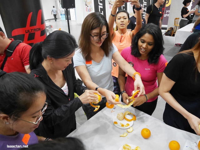 At the event, we had so much fun with Australian oranges