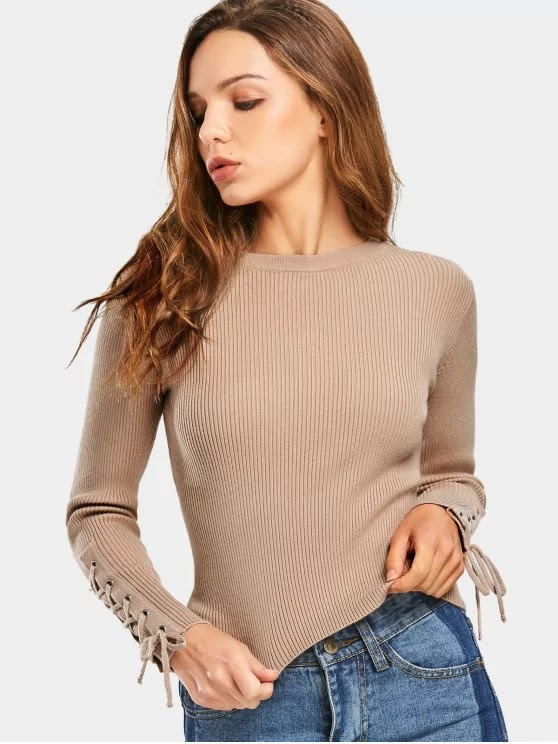 Lace Up Sleeve Ribbed Sweater