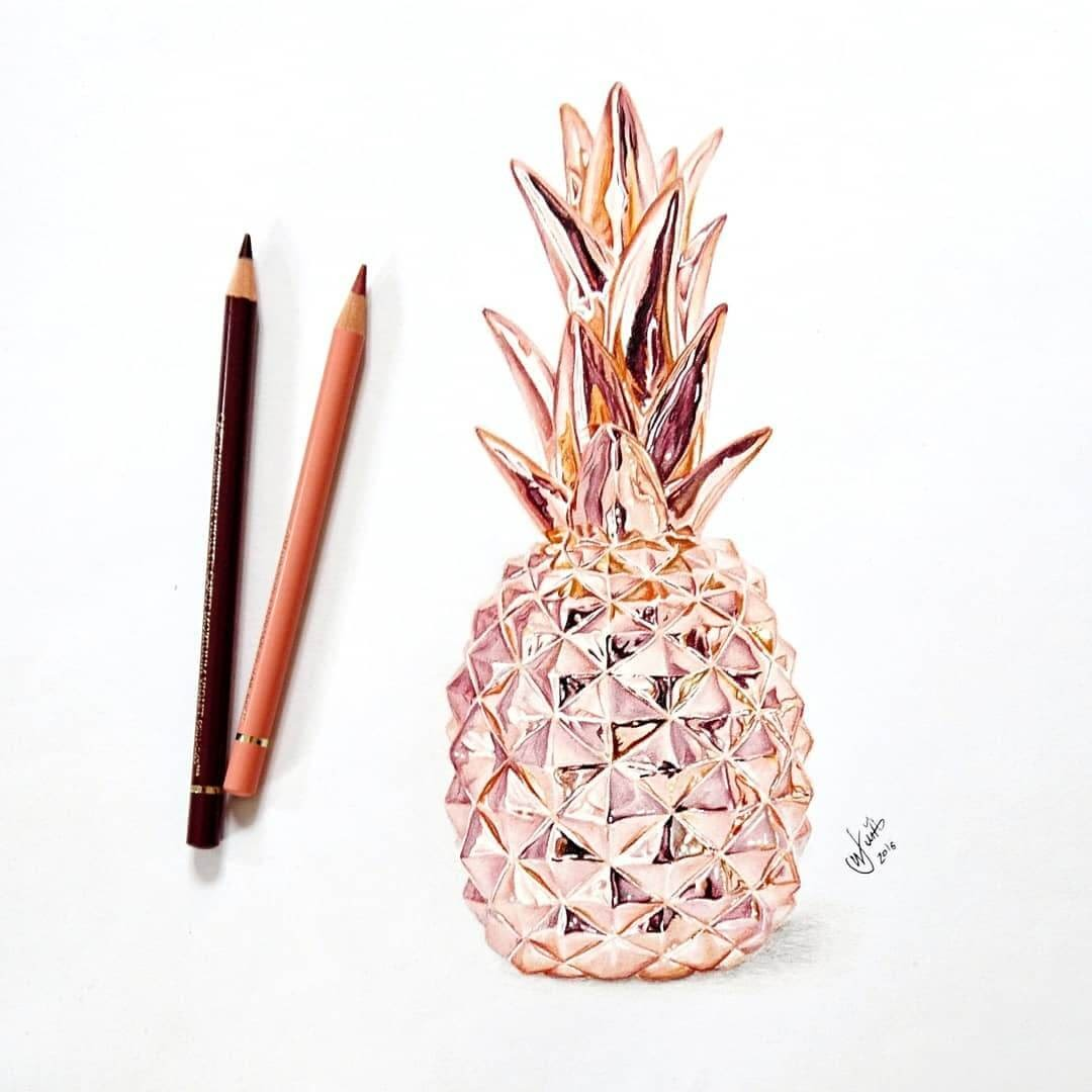 05-Rose-Gold-Pineapple-J-Wuiz-Animals-and-Food-Art-Pencil-Drawings-www-designstack-co