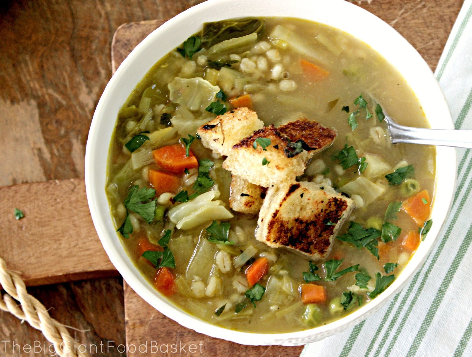 ... Basket: Farmhouse Vegetable and Barley Soup (with homemade croutons