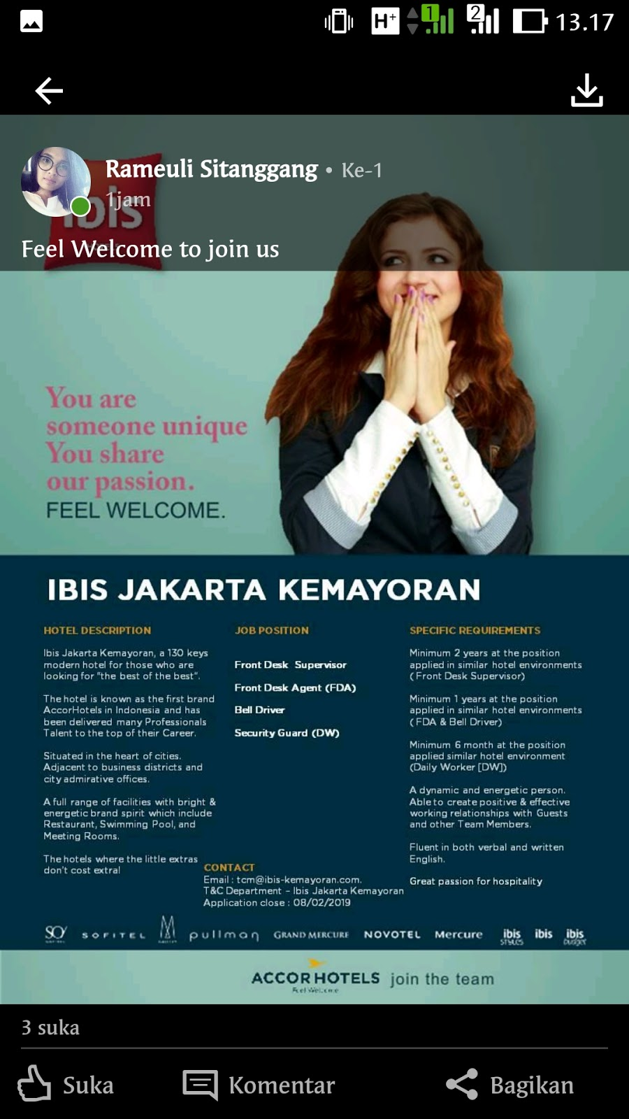 Lowongan Kerja Hotel Ibis Jakarta Kemayoran 4 Posisi Lowongan Kerja Hotel