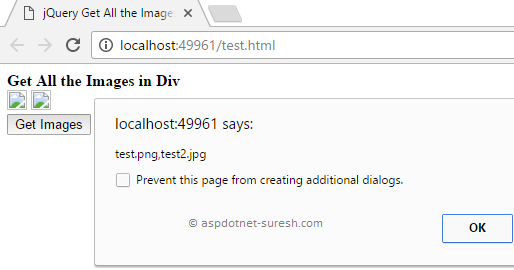 jQuery Get All Images (img) Src in Div with Example - ASP