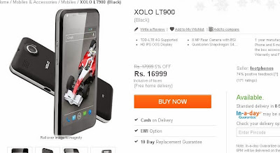 XOLO LT900 4G LTE Android Smartphone now available in India for Rs. 16,999