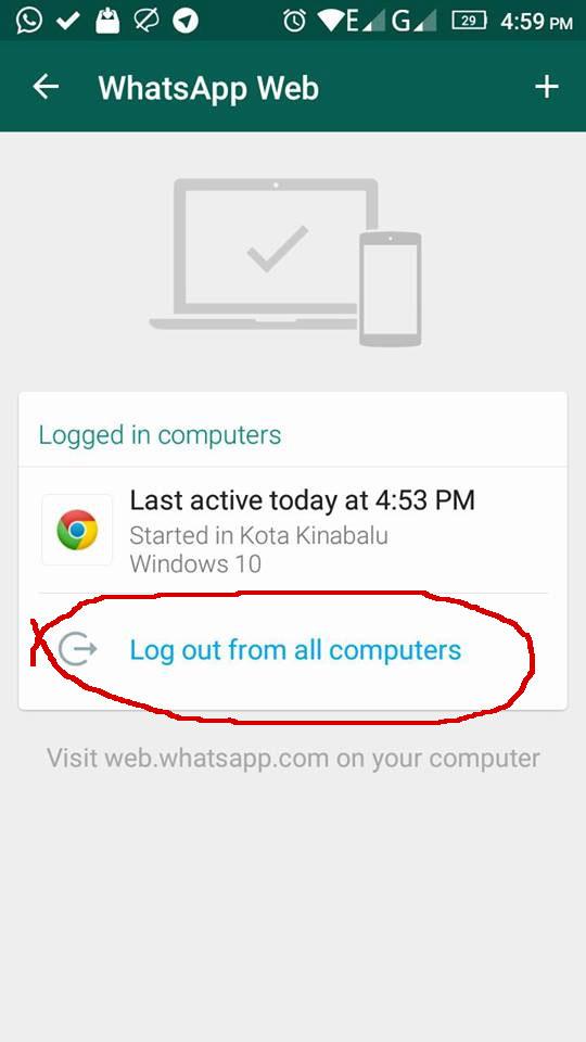 log out whatsapp di pejabat