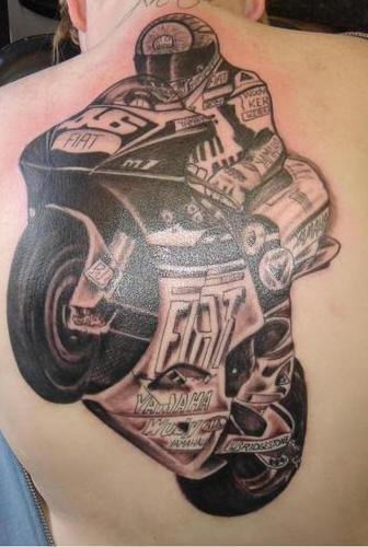 Racing Motorcycle Tattoo On Man Back Body - Moto Tattoo