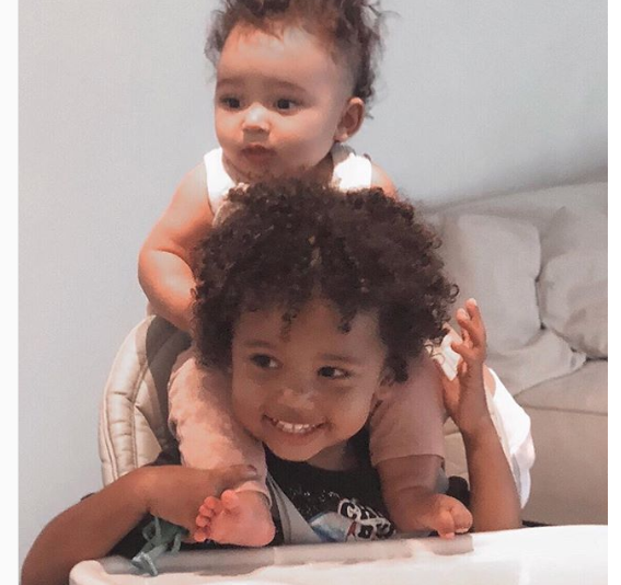Wow!! Little,pretty,beautiful and handsome Saint West and her little sister Chicago on top