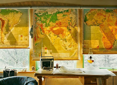 world map curtains and blinds for windows, world map decor, world map art interior