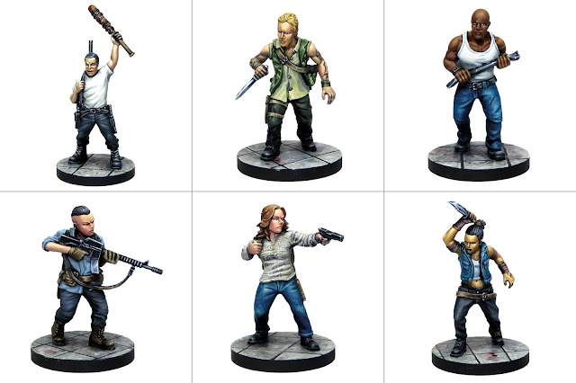 The Walking Dead: Here's Negan (le miniature umane: Negan, Dwight, Laura, John, Tara e Sherry)
