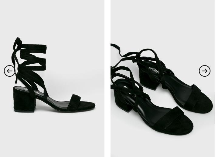 Answear - Sandale negre pe glezna cu toc gros mic