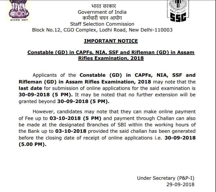 Important Notice for Constable (GD) in CAPFs, NIA, SSF and Rifleman (GD) in Assam Rifles Examination, 2018