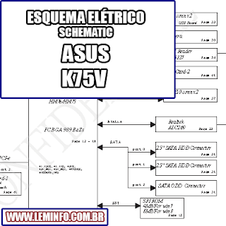 Esquema Elétrico Notebook ASUS K75V - Compal LA-8222P Laptop Manual de Serviço