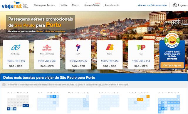 Passagem aérea de São Paulo para Porto