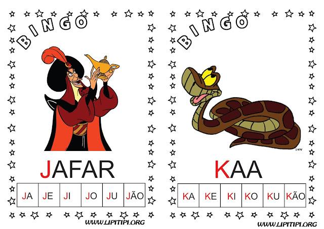 Cartelas Ilustradas com Personagens Infantis para Bingo com Sílabas