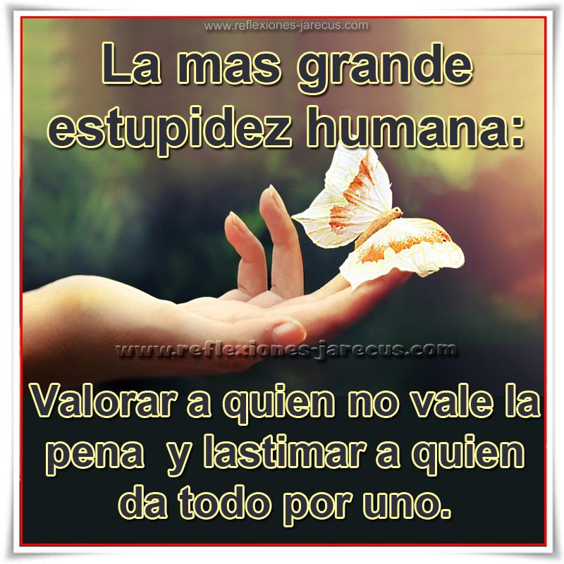 La más grande estupidez humana:  valorar a quien no vale la pena y lastimar a quien da todo por uno.