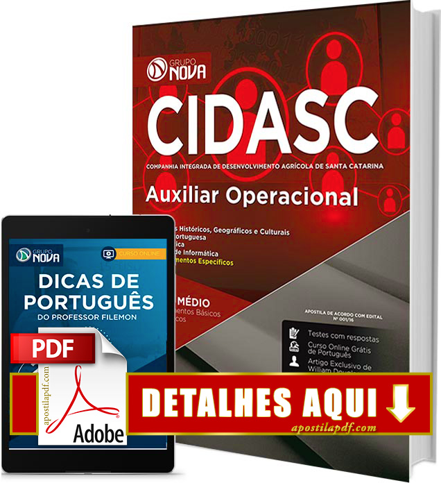 Apostila CIDASC 2017 Auxiliar Operacional PDF Impressa