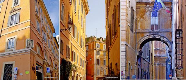 Detalhes arquitetônicos na Via Giulia, em Roma