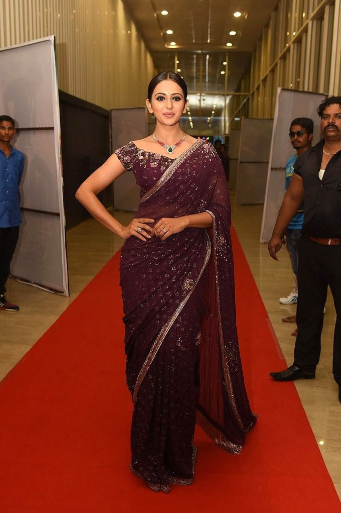 Rakul Preet Singh In Saree During Jaya Janaki Nayaka Movie Audio Launch