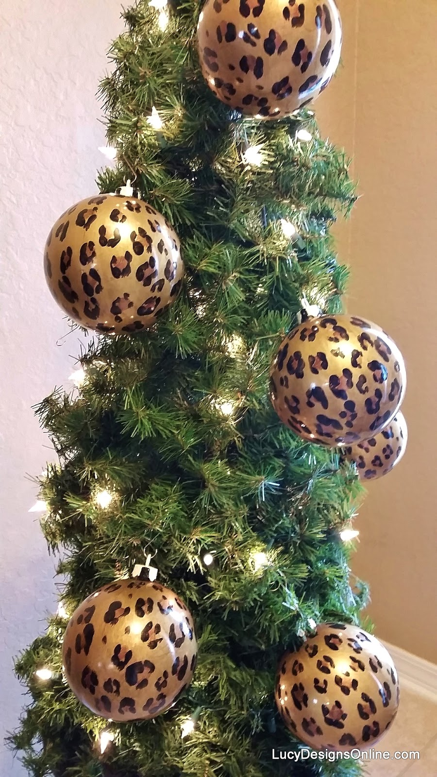 hand painted leopard ornaments