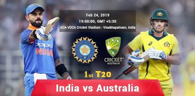 India vs Australia live streaming 1st T20I  Australia tour of India at Visakhapatnam, Feb 24 2019