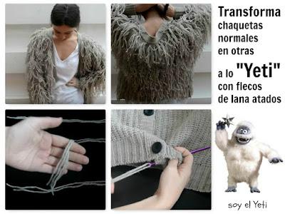 Transforma una chaqueta normal en otra con flecos de lana atados