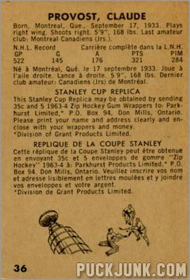 1963-64 Parkhurst #36 - Claude Provost