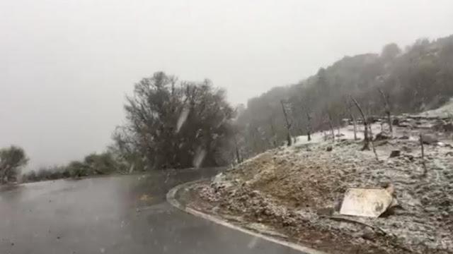 Ισχυρή χιονόπτωση στην Αρκαδία (βίντεο)