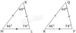 Segitiga KLM kongruen dengan segitiga PQR