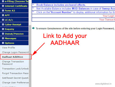 how to link AADHAAR number from indian bank website