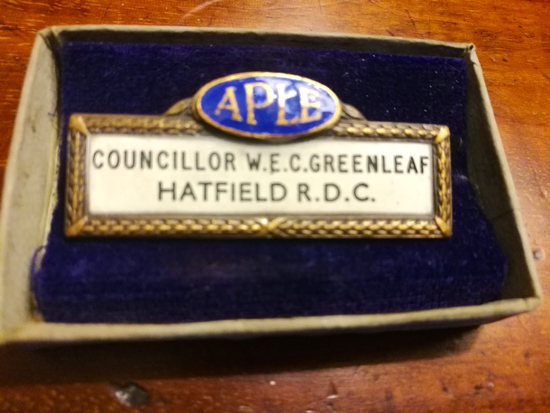 Photograph of councillor W.E. C Greenleaf's Hatfield R.D.C medal courtesy of Nikki Greenleaf