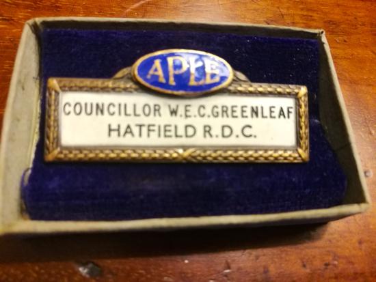 Photograph of councillor W.E. C Greenleaf's Hatfield R.D.C medal courtesy of Nikki Greenleaf