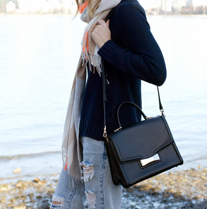 Vancouver Fashion Blogger, Alison Hutchinson, is wearing a chunky knit turtleneck from Gap, Spaceboy awesome baggies from One Teaspoon, a Gap Scarf, Mimosa leopard print heels, a tan felt hat from Holt Renfrew, and a Kate Spade Bag