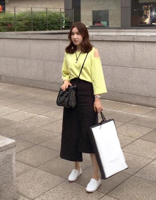 Asymmetric Hem Button-Front Skirts