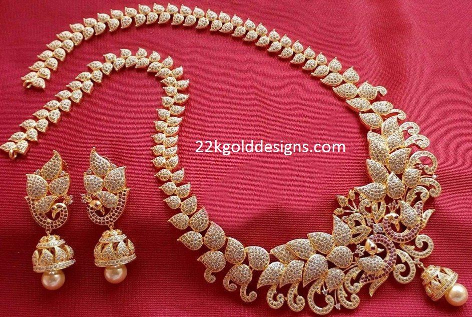1 gram gold czs long necklace set latest jewellery designs 1 gram gold czs long necklace set aloadofball Image collections