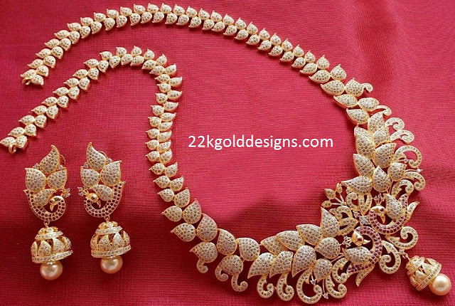 1 Gram Gold CZS Long Necklace Set with price