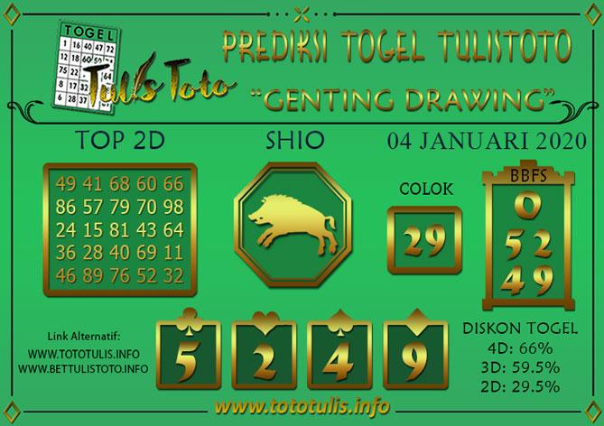 Prediksi Togel GENTING DRAWING TULISTOTO 04 JANUARI 2020