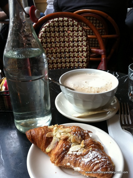 almond croissant and latte at Cafe de la Presse in San Francisco, California
