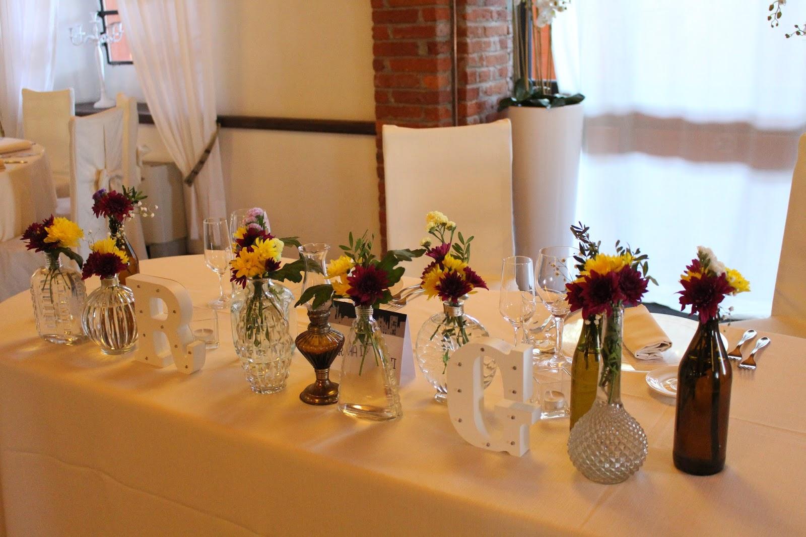 Idee per tavolo sposi fiori rossi e gialli