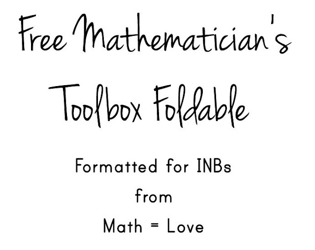 Math = Love: Free Mathematician's Toolbox Foldable for INBs