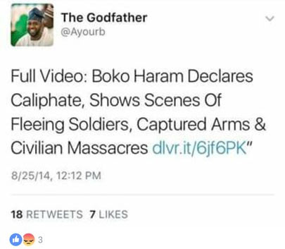See what Twitter user wrote about Shekau in 2014 vs now