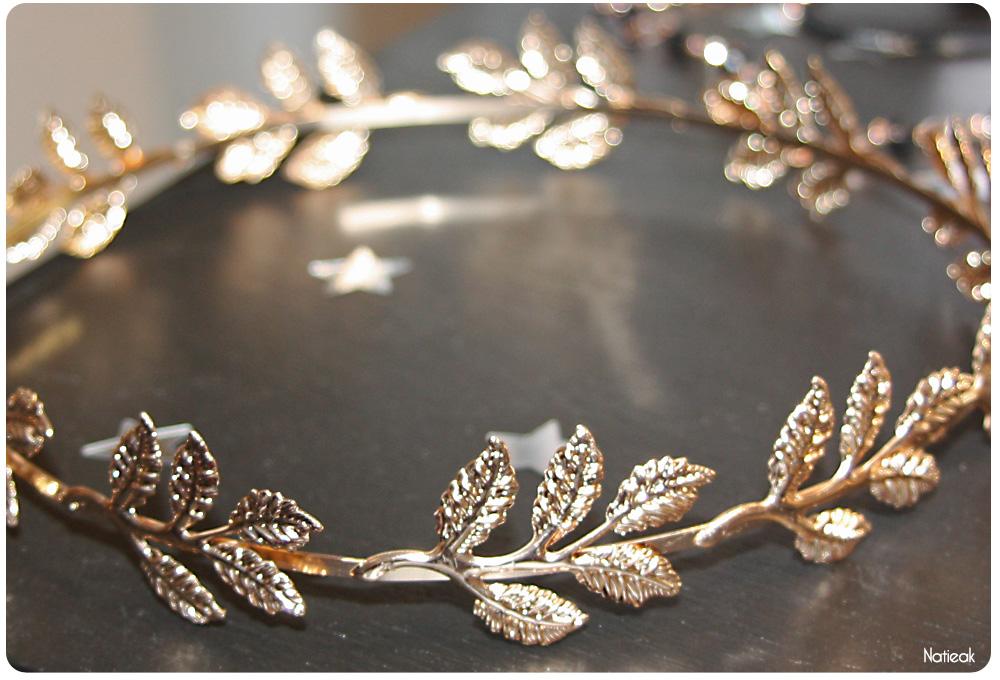 bijoux accessoires cheveux Monoprix Noël 2016 couronne feuilles dorées