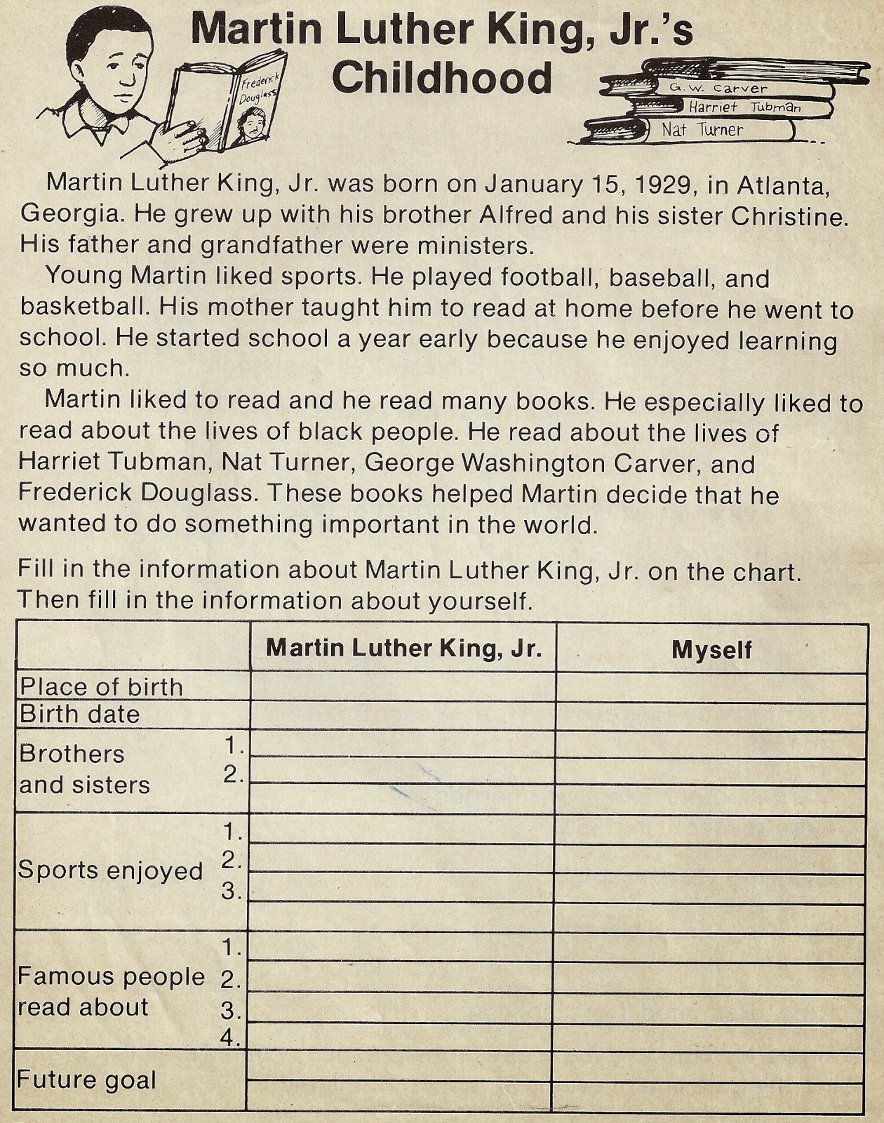 Elementary School Enrichment Activities Martin Luther King Day Worksheets
