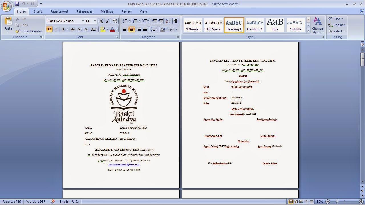 Contoh Laporan PKL SMK Bhakti Anindya