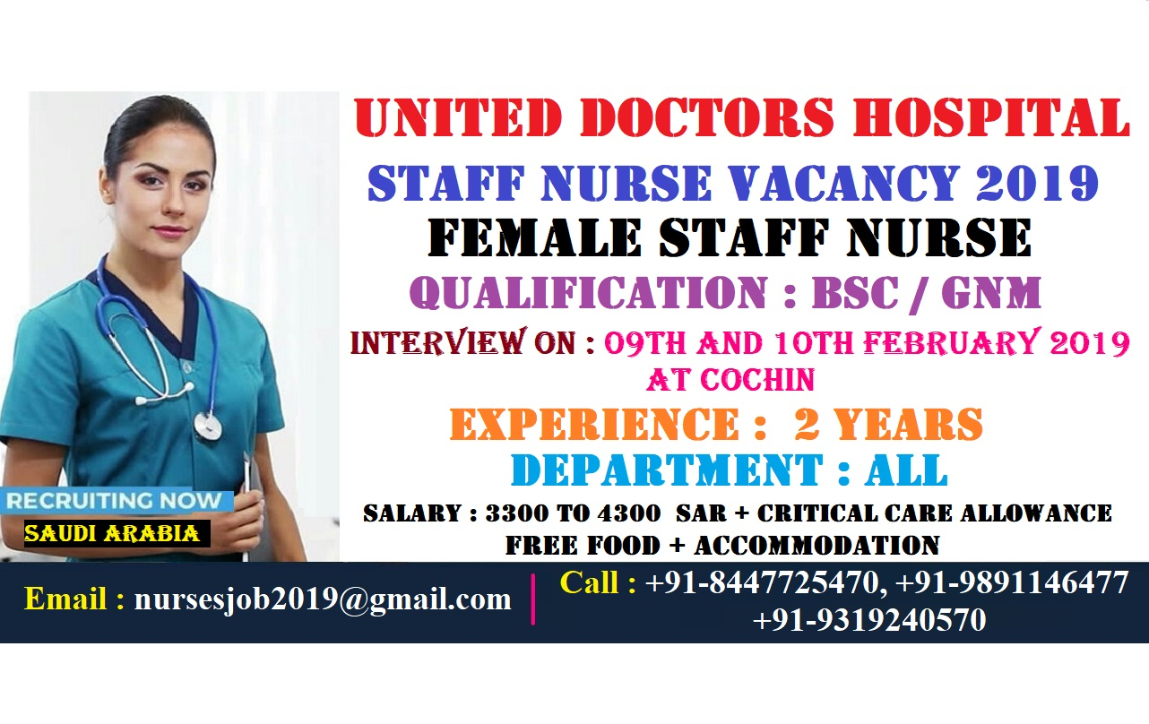 United Doctors Hospital Staff Nurse Vacancy 2019 - Direct Agency Recruitment
