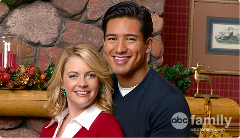 Melissa Joan Hart and Mario Lopez in Holiday in Handcuffs 2007 movieloversreviews.filminspector.com
