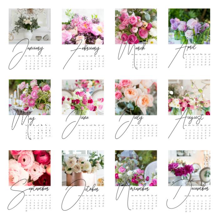 Shabbyfufu floral calendar 2018