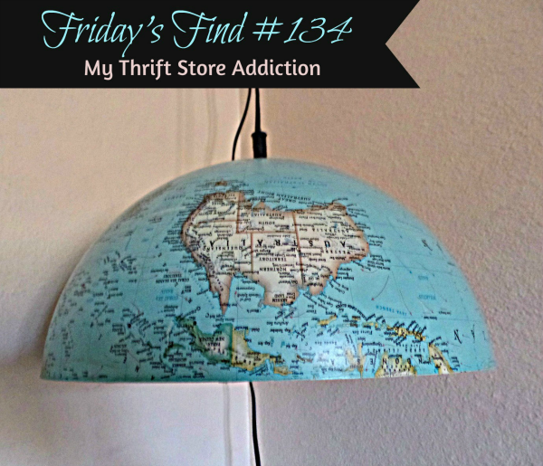 Friday's Find #134 mythriftstoreaddiction.blogspot.com Retro upcycled globe lamp discovered at a yard sale!