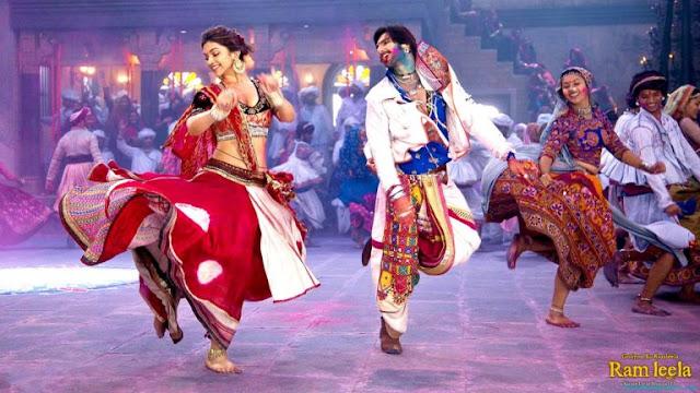 Pam Leela Ranveer Singh and Deepika Playing Garbas HD Pictures