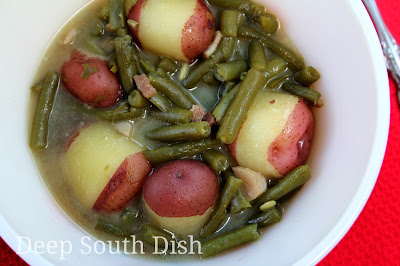 Fresh green beans, slow stewed in the Southern way with cubed or sliced fatback, salt pork or bacon and shown here with potatoes.